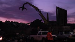 Crane against a purple sky Stock Footage