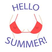 T shirt graphics Hello summer Sexy bust - stock illustration