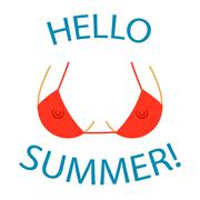 T shirt typography graphics Hello summer Sexy bust Stock Illustration