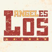 T shirt typography Los Angeles CA grunge Stock Illustration