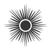 Sun icon Light sign sunbeams Gray design - stock illustration