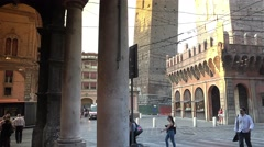 Piazza di Porta Ravegnana and two Tower,Bologna, ULTRA HD 4k, real time. Stock Footage