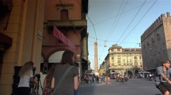 Bologna,via Rizzoli and Piazza Re Enzo, ULTRA HD 4k, real time Stock Footage