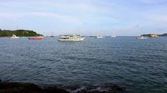 Boats and yachts in Ao Yon bay,Phuket Thailand. Stock Footage