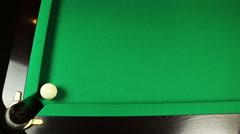 Billiard ball falls into a pocket Stock Footage