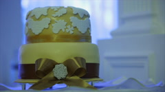 Wedding cake with bow Stock Footage