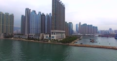 Huge modern skyscrapers on the bank of the Hong Kong bay. China. Stock Footage