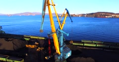 Panoramic aerial view of the cargo cranes in Nakhodka cargo port. Stock Footage
