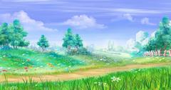 Rural Landscape with Flowers and Grass Around a Path Stock Illustration