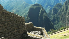 Wall construction detail at machu picchu Stock Footage