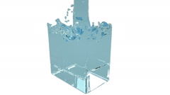blue fluid fills up a rectangular container - stock footage