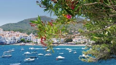 View of the beautiful resort town of Cadaques in Spain. Popular among tourists Stock Footage