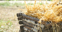 Old wooden cart with hay Stock Footage