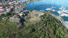 360 aerial view Saint Martin fort Stock Footage