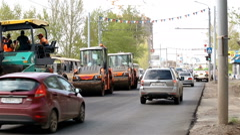 Road rink makes new asphalt Stock Footage