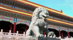 Bronze lion in front of the Hall of Supreme Harmony Stock Footage