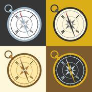 Vector different color compass set, flat design Stock Illustration