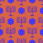 Blue David Star Menorah Seamless Background - stock illustration