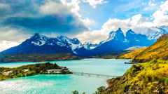 Time lapse of rain clouds flowing over Cuernos del Paine Stock Footage