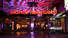 Zoom Out - Entrance to Planet Hollywood Casino - Las Vegas Strip Stock Footage