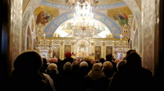 Biblical feast in the Orthodox church inside Stock Footage
