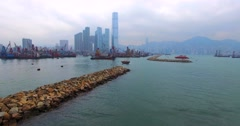 Aerial view of a different ships at anchorage in the bay of Hong Kong, China. - stock footage