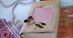 Wedding book close-up Stock Footage