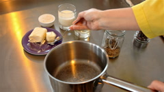 Butter and flour in pan. Bechamel sauce Stock Footage