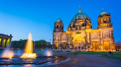 Timelapse Berlin Cathedral at night in Berlin, Germany. Stock Footage