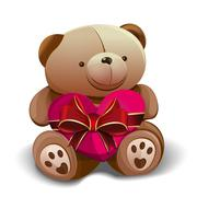 Teddy bear holding a pink heart tied with a red ribbon - stock illustration