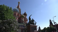 Monument to Minin and Pozharsky against Saint Basil's Cathedral, orbital shot - stock footage