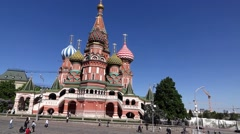 Saint Basil's Cathedral and Upper Trading Rows on Red Square, tracking shot Stock Footage