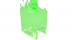 Green fluid fills up a rectangular container Stock Footage