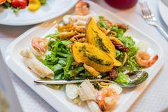 Seafood salad - shrimp, squid octopus Stock Photos