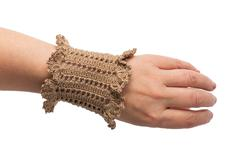 Knitted handmade bracelet Stock Photos
