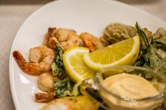 Seafood salad - shrimp, squid octopus - stock photo