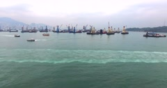 Aerial view of the bay of Hong Kong, China. Stock Footage