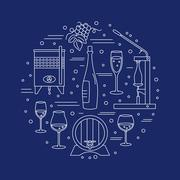 Winemaking, wine tasting graphic design concept Stock Illustration