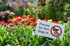 Please do not step in sign in Gardens by the Bay Stock Photos