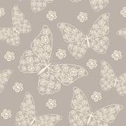 Beautiful seamless pattern with butterflies - stock illustration
