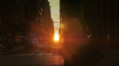 Slow Motion Sunset Establishing Shot of Manhattanhenge as Seen Down 44th Street Stock Footage