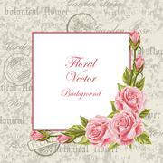Vintage frame with flowers Stock Illustration