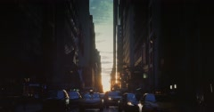Sunset Establishing Shot of Manhattanhenge as Seen Down 44th Street Stock Footage