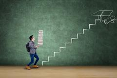 Male student with books and staircase Stock Photos