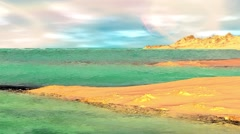 Fantasy alien planet. Rocks and lake. 3d Animation. 4К Stock Footage