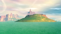 Fantasy alien planet. Rocks and lake. 3d Animation. 4К - stock footage