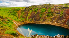Time lapse of Kerid volcanic crater lake Stock Footage