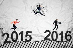 Workers compete above numbers 2016 Stock Photos