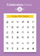 Vector line celebration and party tiny icon set Stock Illustration