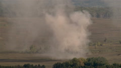 Wild shot of huge explosion on battlefield Stock Footage